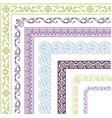border lines ornamental vinage set with corner vector image vector image