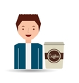 cartoon guy with cup white coffee design icon vector image