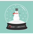 Cartoon Snowman on snowdrift Crystal ball with vector image vector image