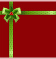 christmas ribbon with holly berry vector image vector image