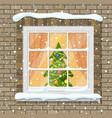 christmas window in brick wall vector image vector image