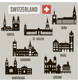 Cities in Switzerland vector image