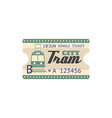 city tram single ticket isolated boarding pass vector image vector image