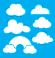 cloud paper set with shadow on blue background vector image
