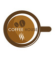 coffee house isolated icon cup and beans hot vector image