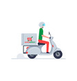 courier delivering food on scooter vector image vector image