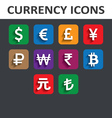 Currency Icons Set with shadow vector image vector image