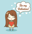cute girl holding heart and speech bubble with vector image vector image