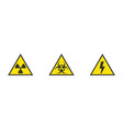 danger hazard warning yellow signs of vector image vector image