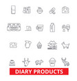 diary products milk butter cream cheese vector image