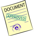 document with round seal and stamp approved vector image