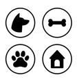 dog round icons set dog head paw bone dog vector image vector image