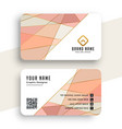 elegant pastel color low poly business card design vector image vector image