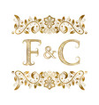 f and c vintage initials logo symbol vector image