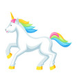 fantasy pretty white unicorn with colorful mane vector image vector image