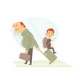 father and his son are going on vacation in vector image vector image