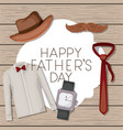 fathers day card with accessories vector image