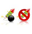firework rockets bomb and stop sign on white vector image