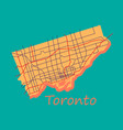 Flat color map of toronto canada city plan of