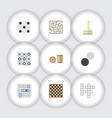 Flat icon entertainment set of chequer chess