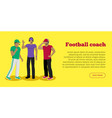 football coaches web banner cartoon soccer referee vector image