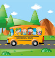 four kids riding on school bus vector image vector image
