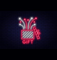 gift box neon sign reward or bonus concept prize vector image
