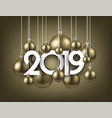 gold festive 2019 new year card with christmas vector image