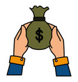 hands human with money bag vector image