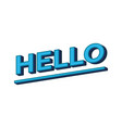 hello lettering calligraphy hello word in blue vector image vector image