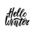 hello winter hand-drawn lettering banner text vector image vector image