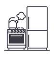 kitchenrefrigerator stove kettle line vector image vector image