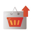 label with shopping basket and arrow up vector image vector image