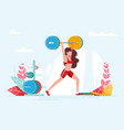 lift girl is doing sports with big weight vector image