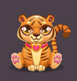 Little cute cartoon sitting batiger icon