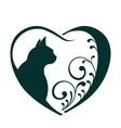Love cat heart logo vector image