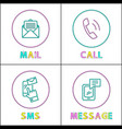 modern means communication outline icon set vector image vector image