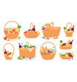 picnic baskets wicker hampers with food and wine vector image