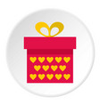 pink gift box with yellow hearts icon circle vector image vector image