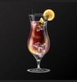 realistic cocktail long island ice tea glass vector image vector image