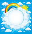 round frame with a rainbow and sun vector image vector image