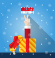 Santa Claus hand victory sign from gift box vector image