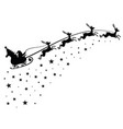 santa claus on sleigh flying sky with deers black vector image vector image