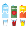 Set drinks in package Milk tomato juice and fresh vector image