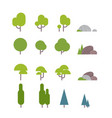 set of diversity green trees plants and garden vector image