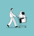 shopper pushing a shopping cart vector image
