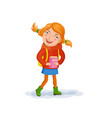 small girl with story book vector image