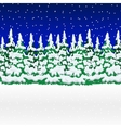 Snowy winter forest Christmas landscape with vector image