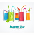 summer bar and cocktail glasses concept card vector image