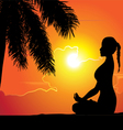 Summer holiday Training yoga girl Palm Tree vector image vector image